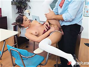Its Kristen Scotts turn to get her culo beaten in rectal class