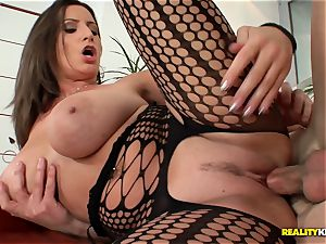 thick boobied sensual Jane penetrates in fishnet