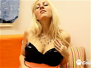 blonde milf stabbed herself with dildo