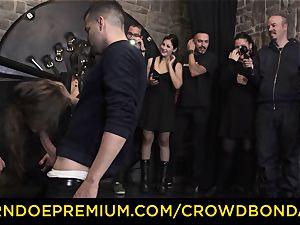 CROWD restrain bondage - extraordinary sadism & masochism penetrate wheel with Tina Kay