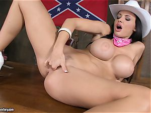 sizzling Aletta Ocean thumbs her dribbling cooter