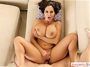buxom female Ava Addams with huge bodacious orbs takes her spouse hard's chisel