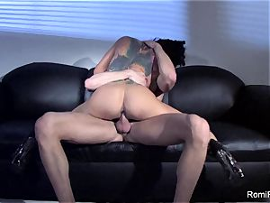 uber-sexy Romi Rain taunts and then gets pounded rock hard