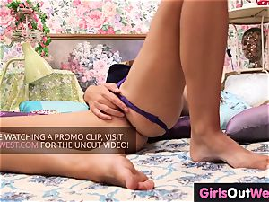 thin French female Eloise toys her lil' cootchie