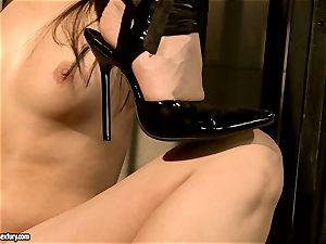 Kathia Nobili makes a warm stunner gargle a faux-cock