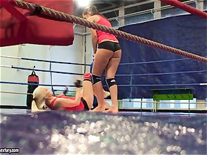 Brandy smirk grapple with a sweetie stunner inside the ring