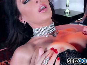 Jessica Jaymes solos in smoking red-hot lingerie