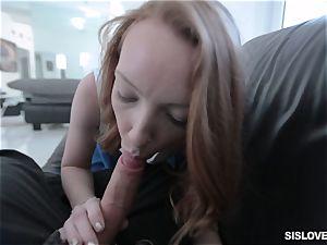 Ginger honey Katy smooch blows off her stepbro