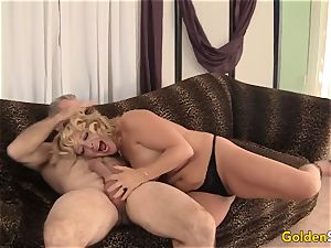 grannie takes a phat cock and cum in her gullet