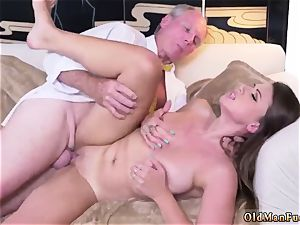 parent and mother elder guy hardcore Ivy amazes with her big bra-stuffers and booty